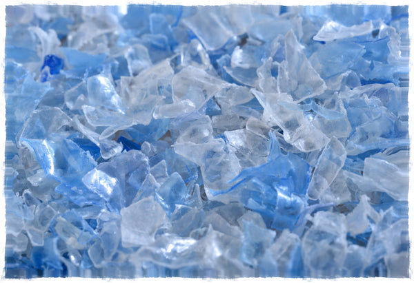 Plastic flakes made from recycled plastic bottles used as raw material for Flex-Fill