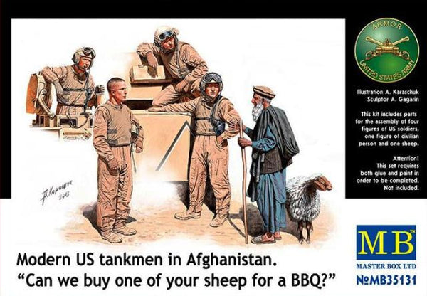 "Master Box 1/35 Modern US tankmen in Afghanistan. ""Can we buy one of your sheep for a BBQ?"" 
