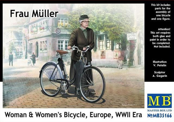 Master Box 1/35 Frau Müller Woman & Women's Bicycle Europe, WWII era | MB35166