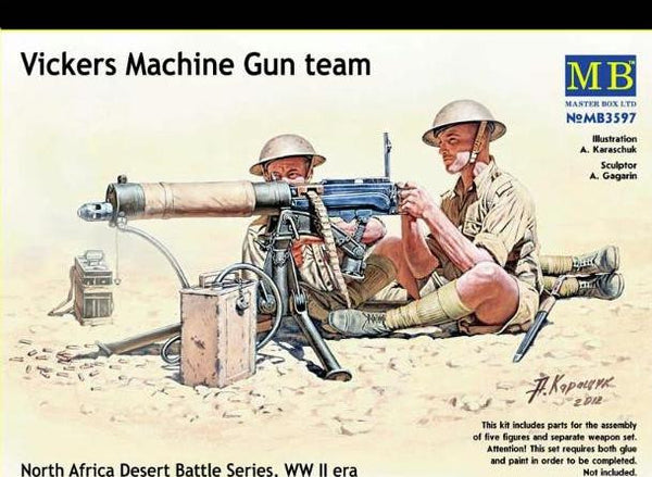 Master Box 1/35 Vickers Machine Gun team North Africa Desert Battle Series, WW II era | MB3597
