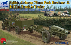 Bronco 1/35 British Airborne 75mm Pack Howitzer & 1/4 Ton Truck w/Trailer | CB35163
