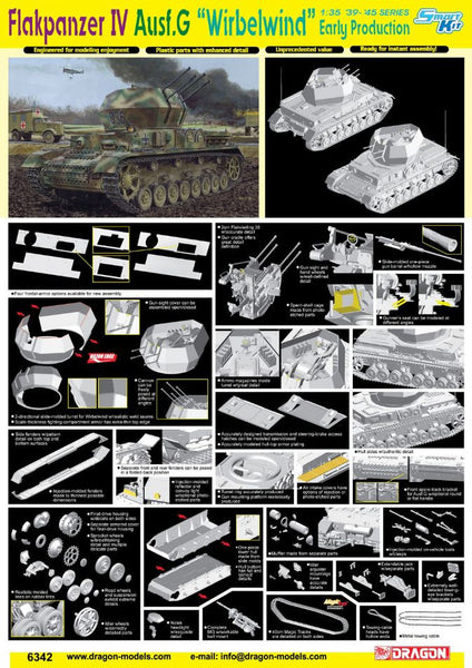 "Dragon 1/35 Sd.Kfz.161/4 2cm Flakpanzer IV Ausf.G ""Wirbelwind"" Early Production 