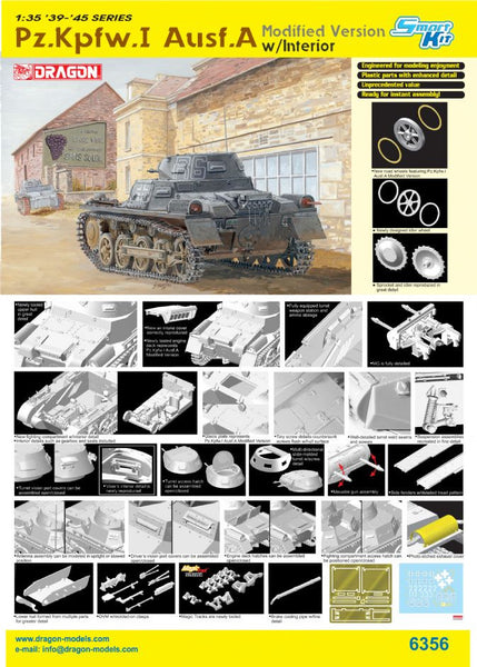 Dragon 1/35 Pz.Kpfw.I Ausf.A Modified Version w/Interior | 6356