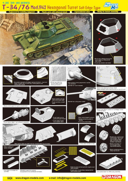 Dragon 1/35 T-34/76 Mod.1942 Hexagonal Turret Soft Edge Type | 6424