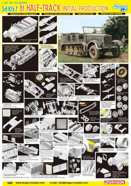 Dragon 1/35 Sd.Kfz.7 8t Half Track Initial Production | 6466