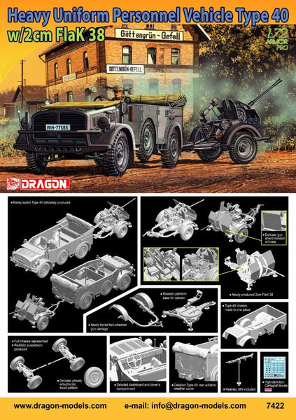 Dragon 1/72 Heavy Uniform Personnel Vehicle Type 40 + 2cm FlaK 38 | 7422