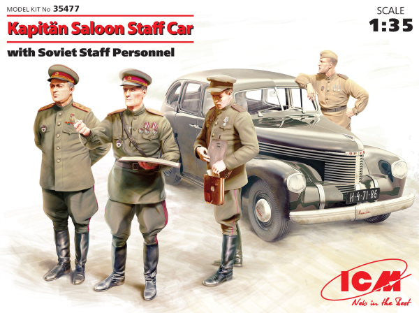 ICM 1/35 Kapitän Saloon Staff Car with Soviet Staff Personnel | 35477