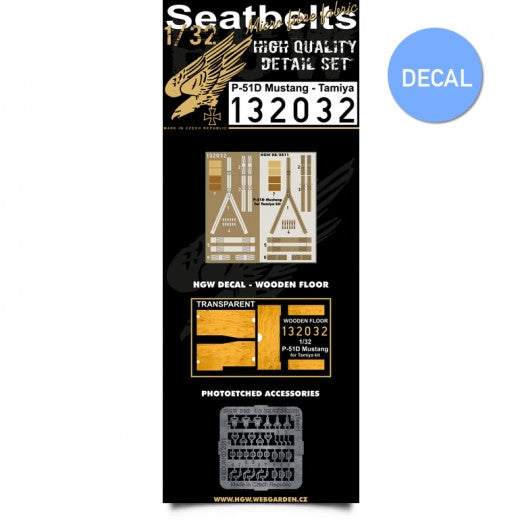 HGW 1/32 P-51D Mustang - Seatbelts + Wooden Floor Decal | 132032