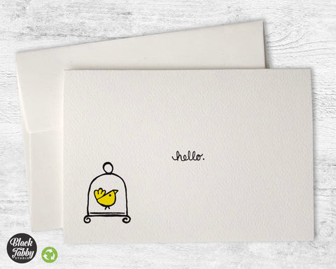 Little Yellow Bird - Hello Greeting Cards
