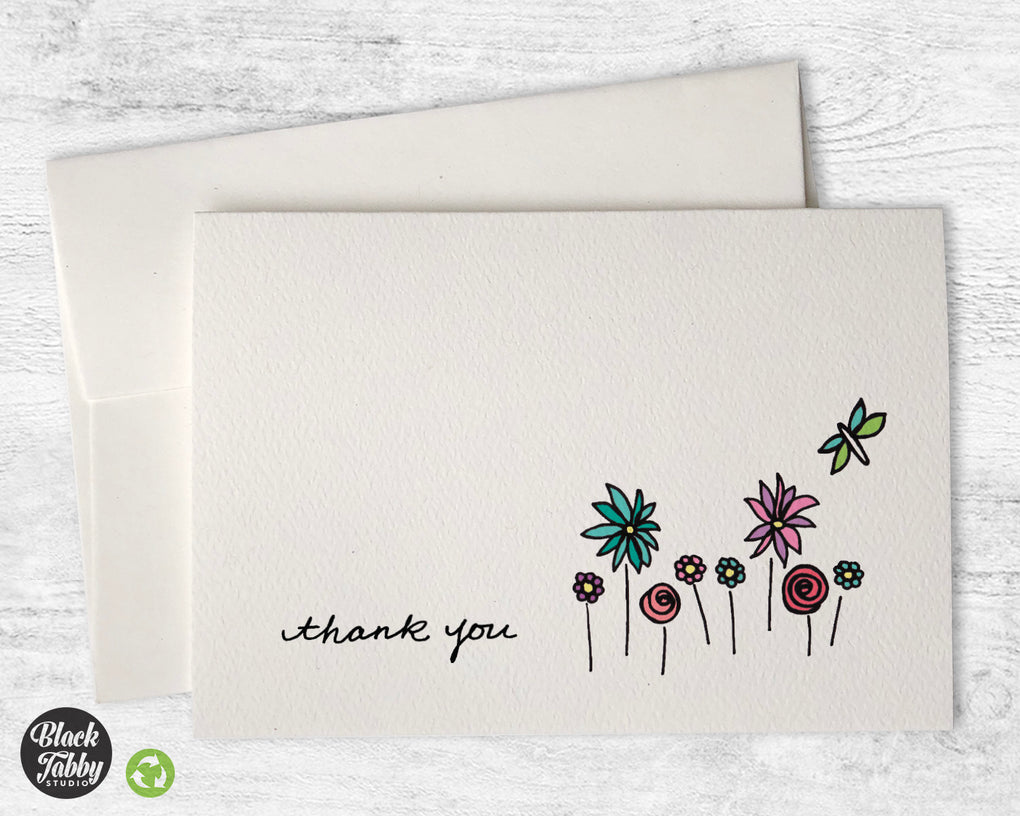 A Dragonfly in the Garden - CLEARANCE - Thank You Cards