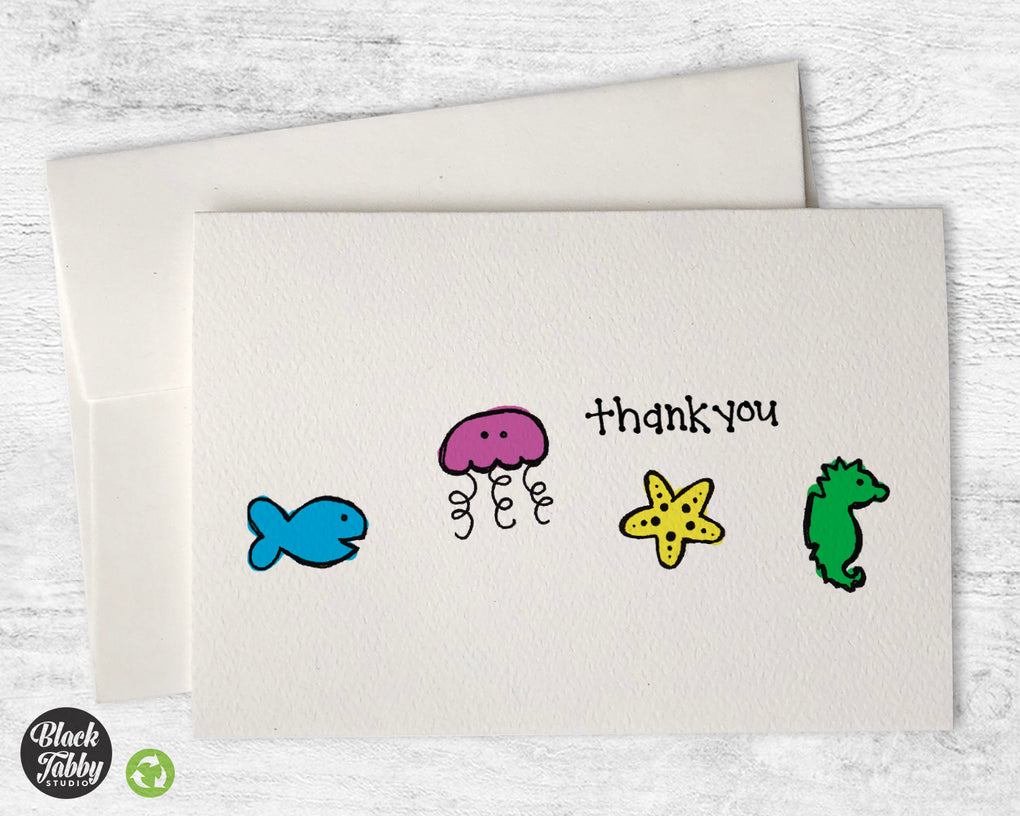 Colorful Sea Creatures - CLEARANCE - Thank You Cards