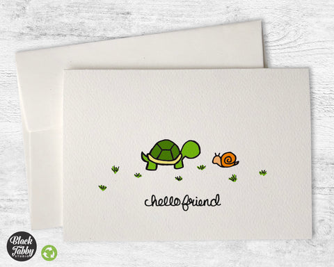 The Turtle & The Snail - Hello Greeting Cards