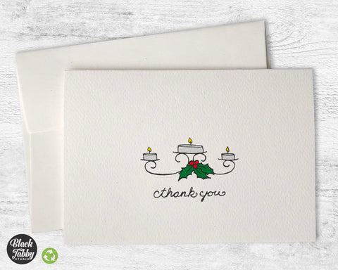 Candles & Holly - Thank You Cards