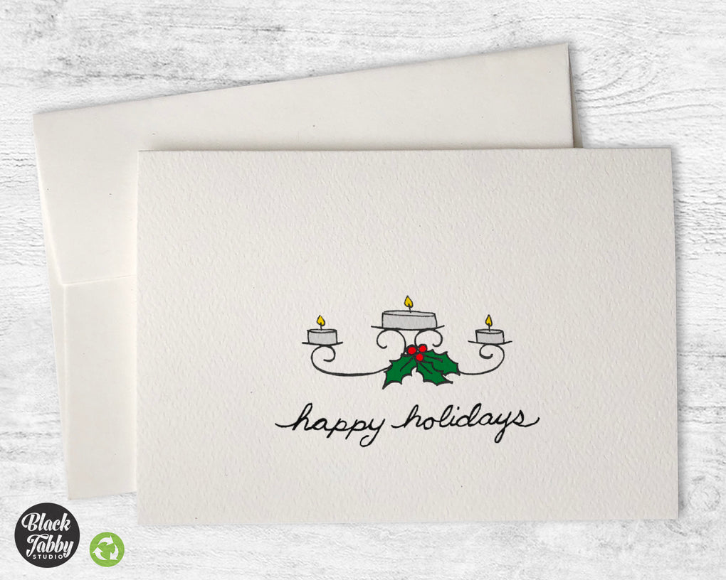 Candles & Holly - Happy Holidays Cards