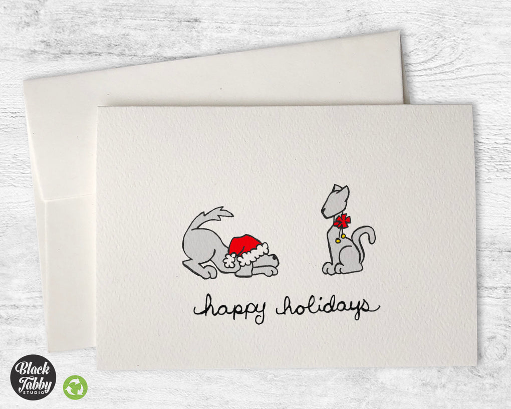 Festive Dog & Cat - Happy Holidays Cards
