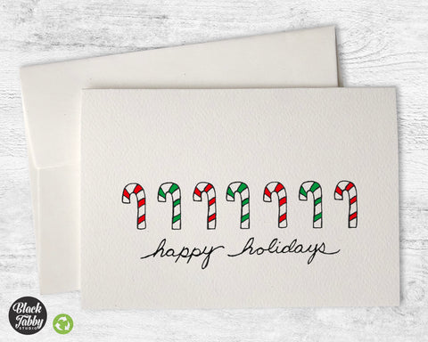Candy Canes - Happy Holidays Cards
