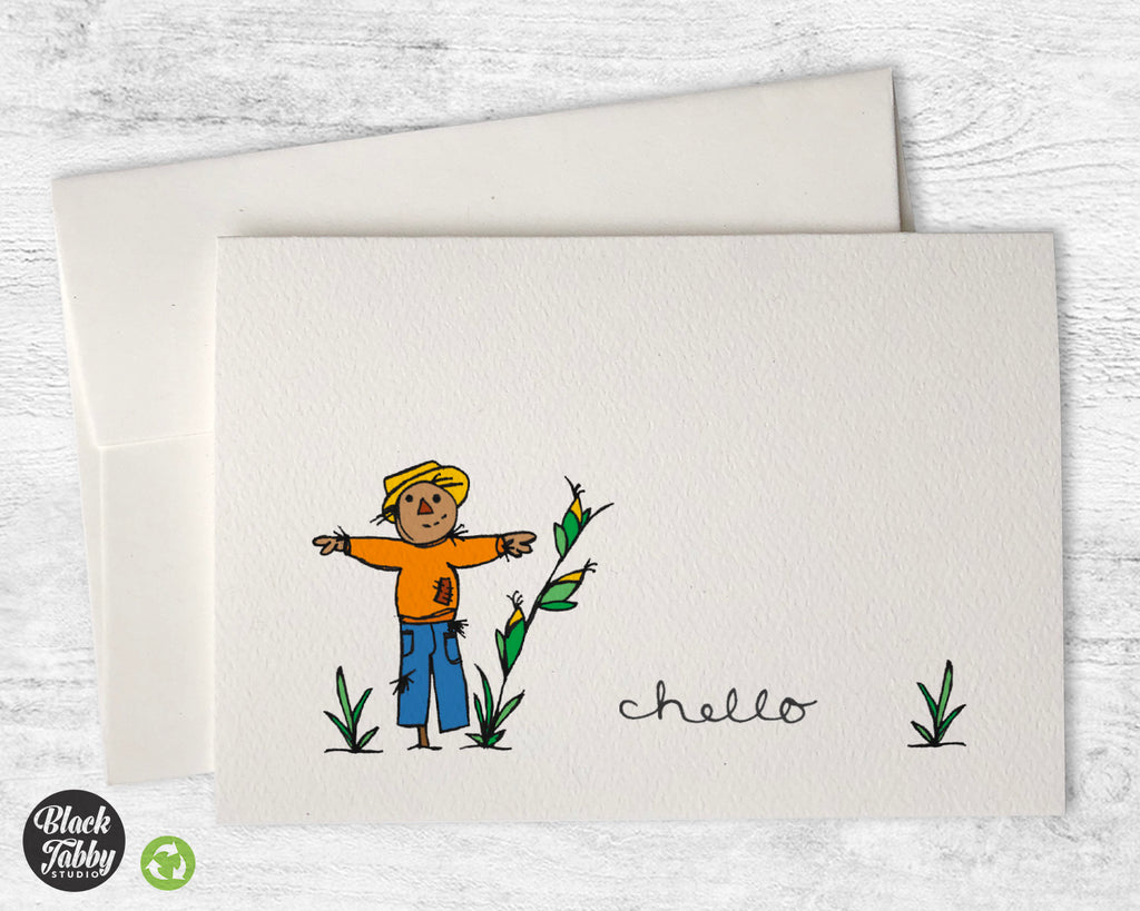 Friendly Scarecrow - Hello Greeting Cards