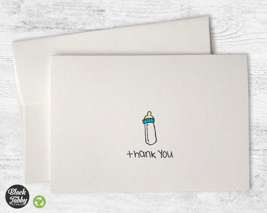 Precious Baby Boy Bottle - Thank You Cards
