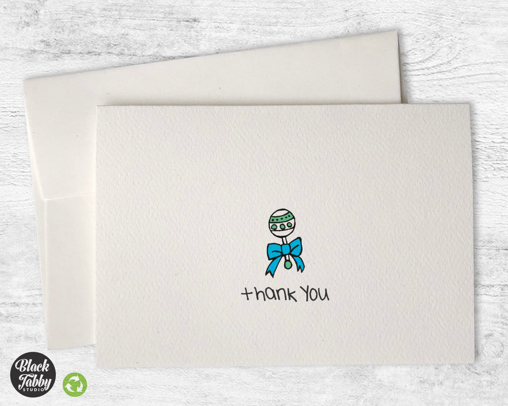 Sweet Baby Boy Rattle - Thank You Cards