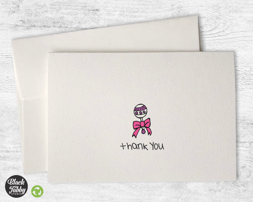 Sweet Baby Girl Rattle - Thank You Cards