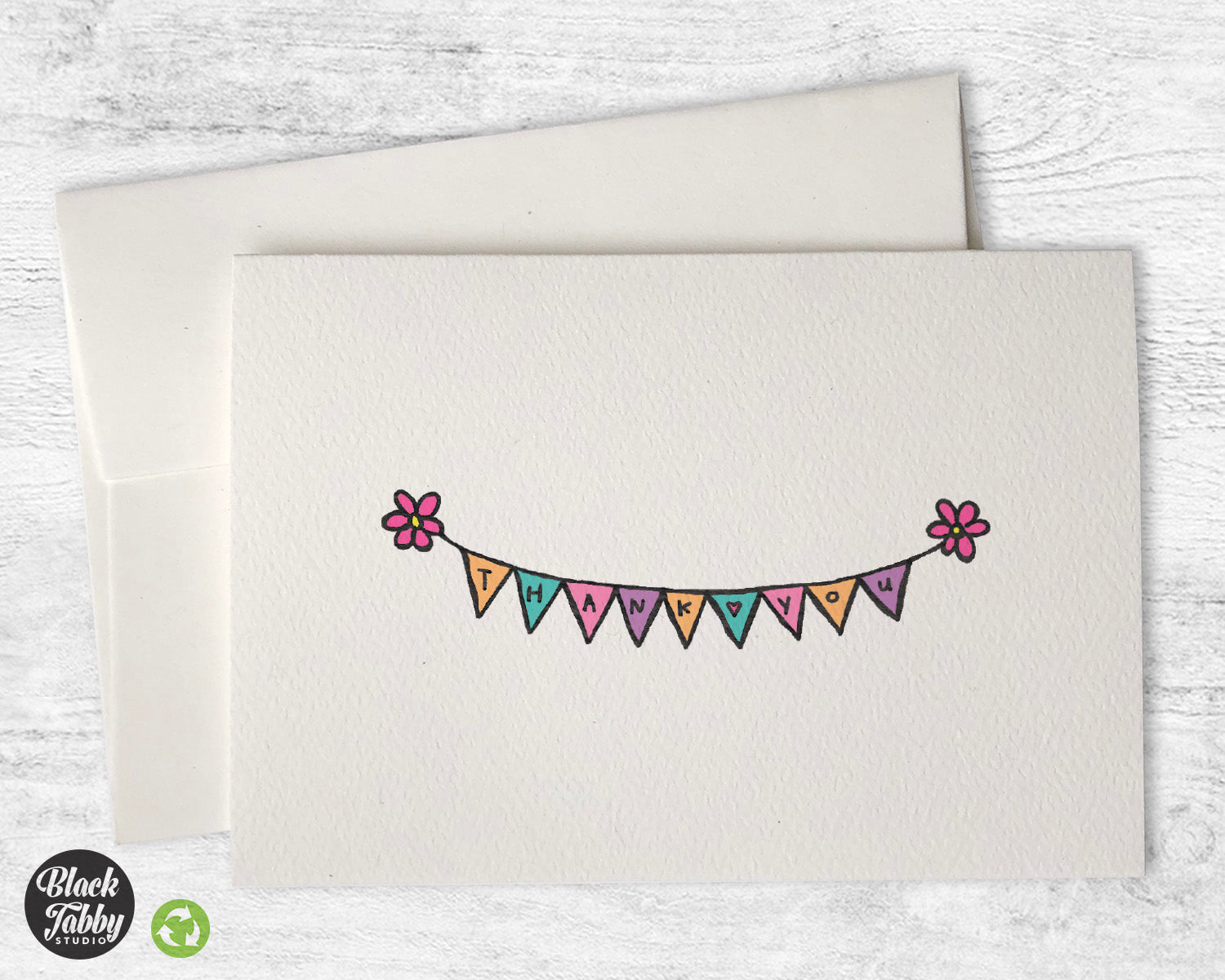 Bunting Banner With Flowers Thank You Cards Black Tabby Studio