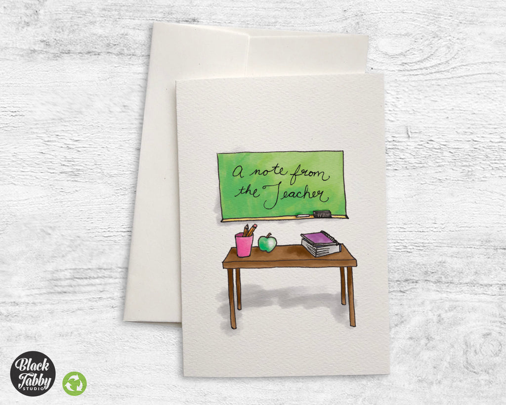 Teacher's Desk - A Note From The Teacher Greeting Cards