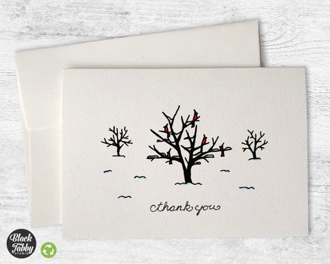 Cardinals in Trees - Thank You Cards
