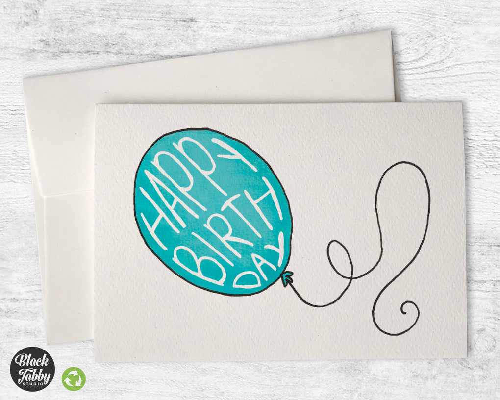 Happy Birthday Balloon in Aqua - Birthday Cards