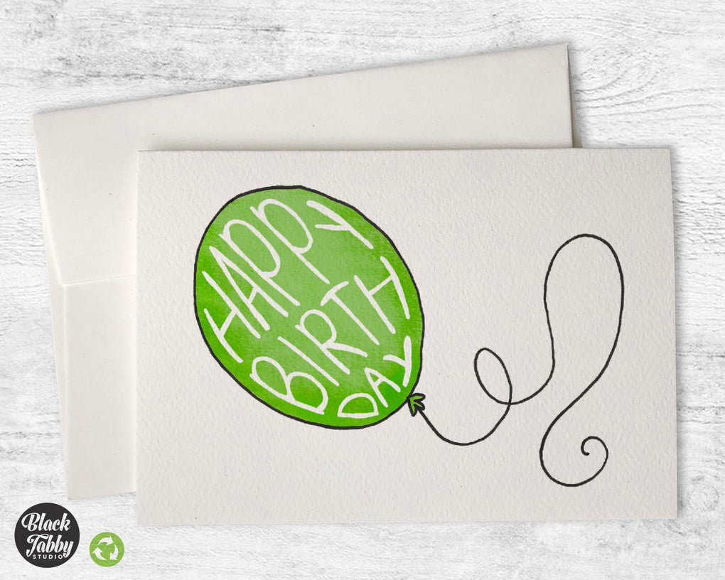 Happy Birthday Balloon in Green - Birthday Cards