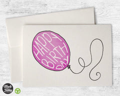Happy Birthday Balloon in Pink - Birthday Cards