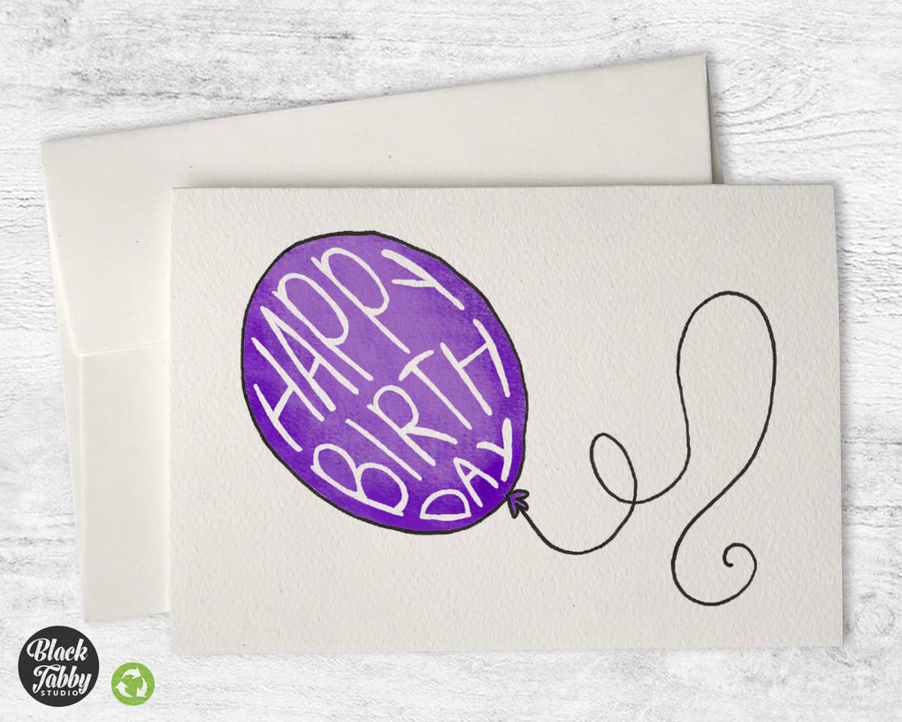 Happy Birthday Balloon in Purple - Birthday Cards
