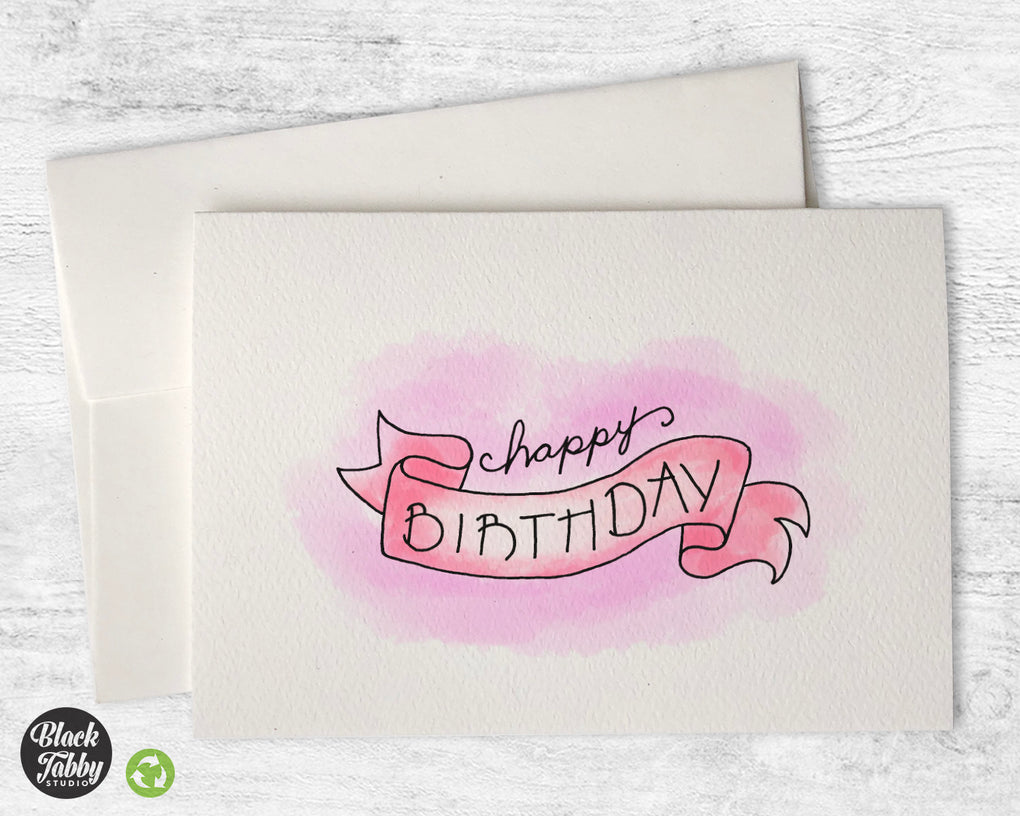 Birthday Banner in Pink - Birthday Cards