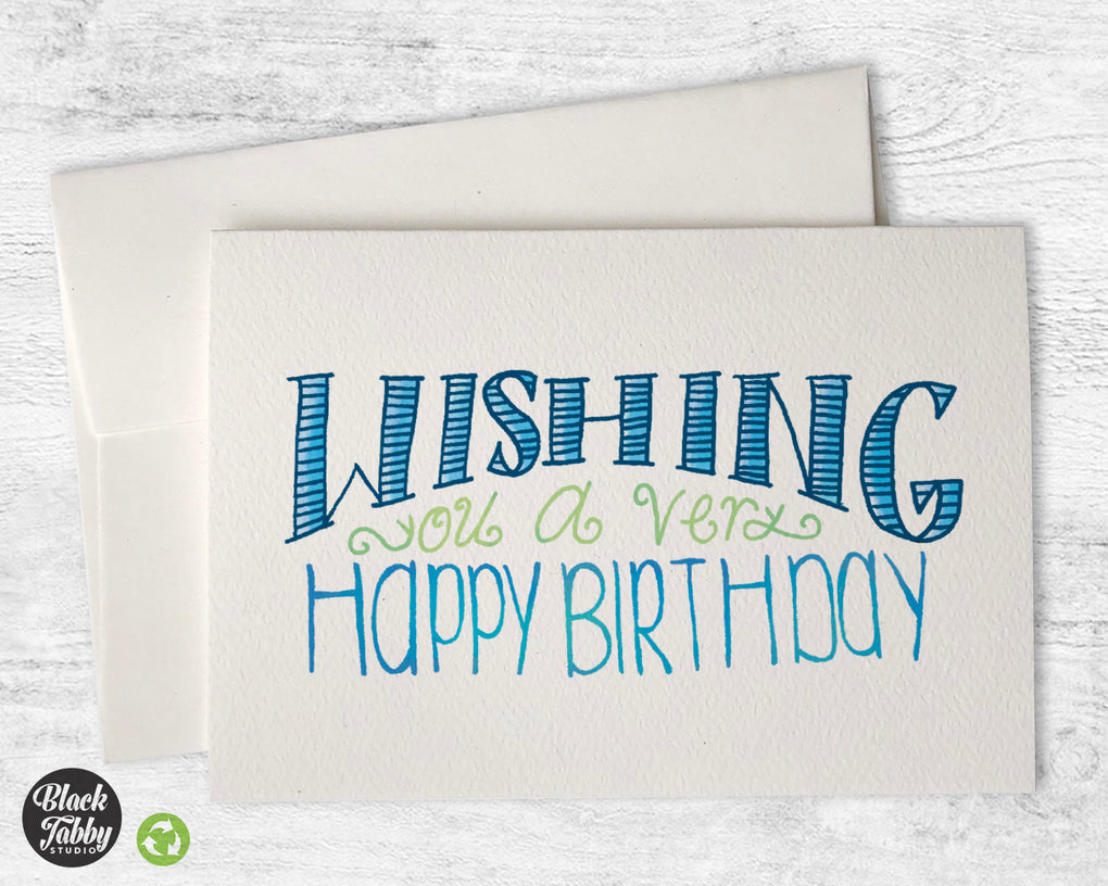 Wishing You a Very Happy Birthday in Blue - Birthday Cards