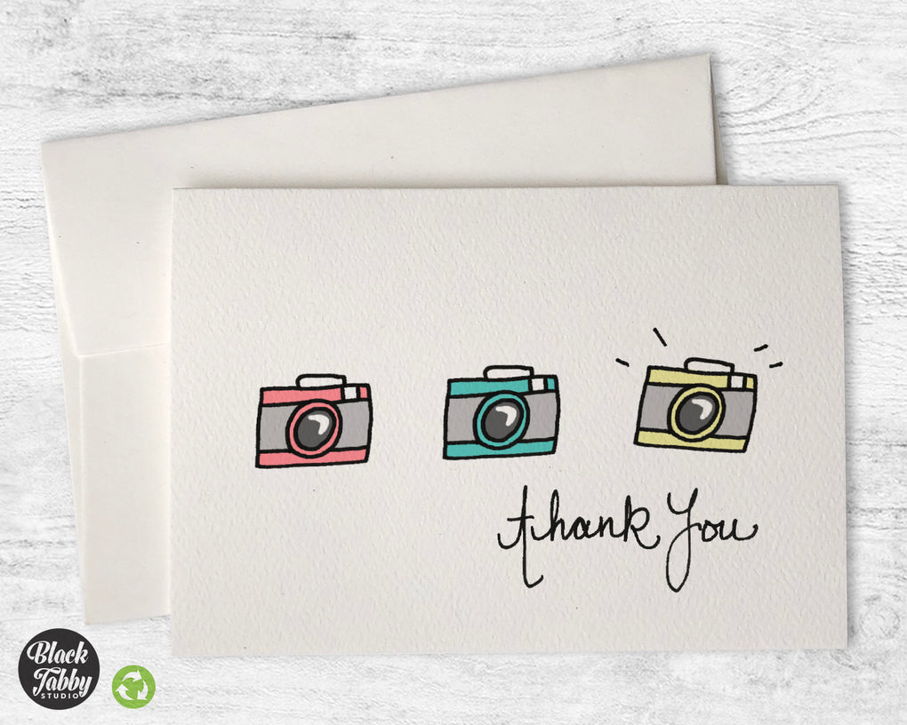 Retro Cameras - Thank You Cards
