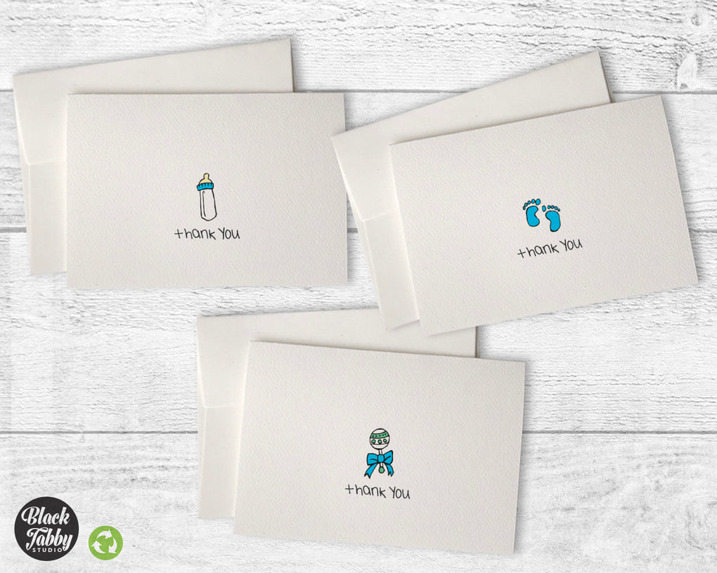 Baby Cards in Blue - Thank You Collection Pack