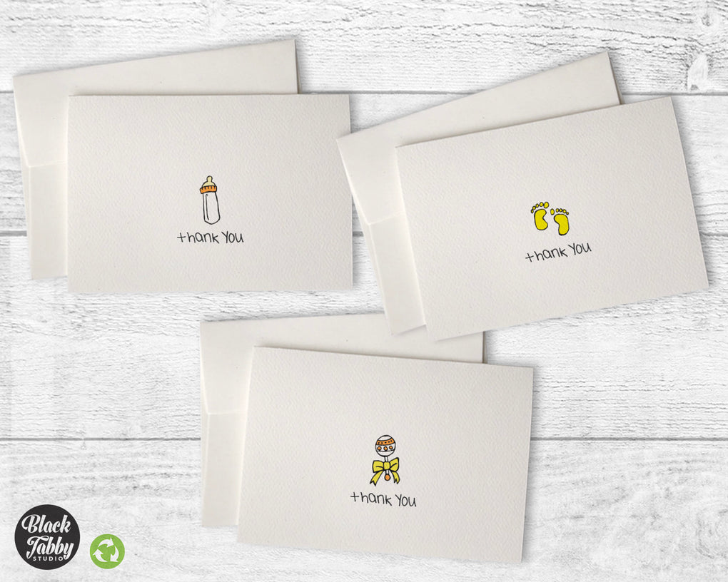 Baby Cards in Yellow - Thank You Collection Pack