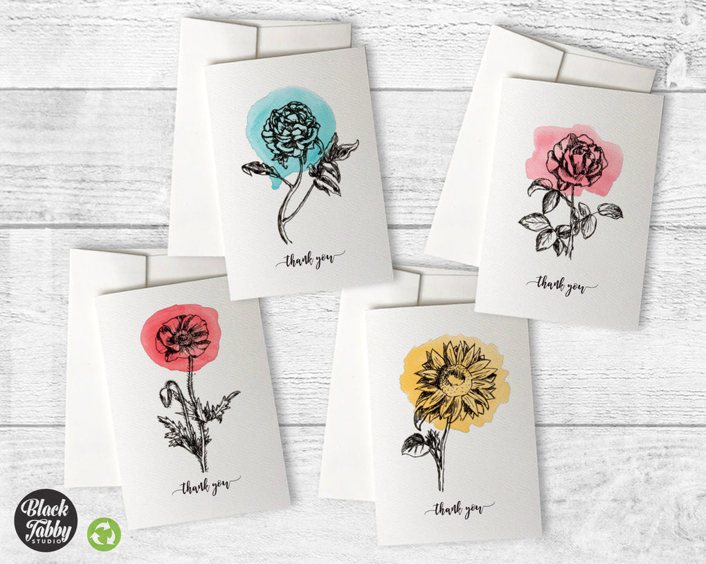 Botanical Watercolor Sketches - CLEARANCE - Thank You Collection Pack