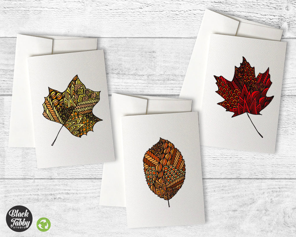 Zentangle Leaves - Greeting Card Collection Pack