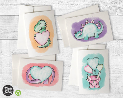 Adorable Dinosaurs with Hearts - Greeting Cards