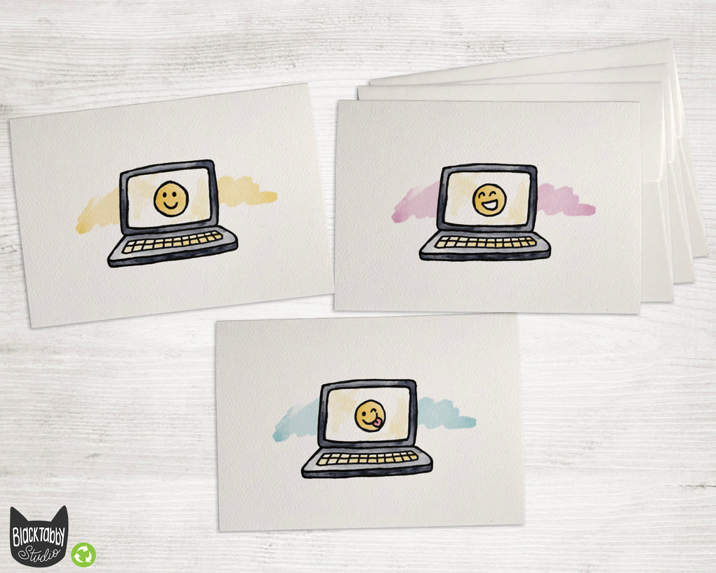 Happy Faces on a Laptop - Note Cards Collection Pack