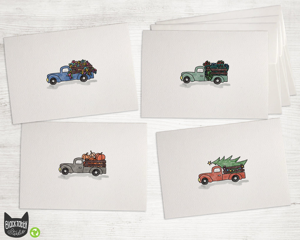 Red Seasonal Truck - Collection Set of Blank Greeting Cards