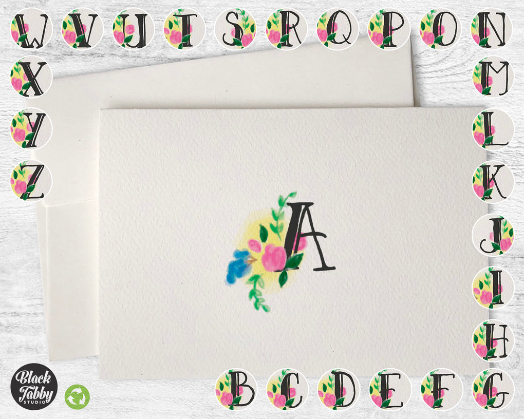 Floral Monogram {Choose From A-Z} - CLEARANCE - Note Cards