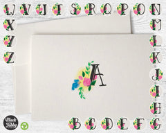Floral Monogram {{Choose From Letters A to Z}} - Note Cards