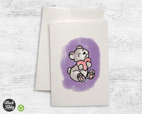 Cute Bear with Heart - Greeting Cards