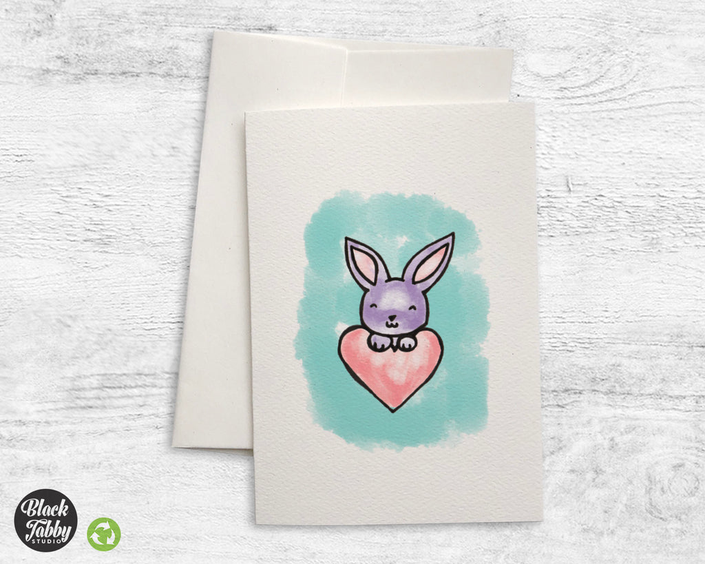 Cute Bunny with Heart - Greeting Cards