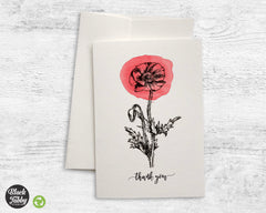 Botanical Poppy - Thank You Cards