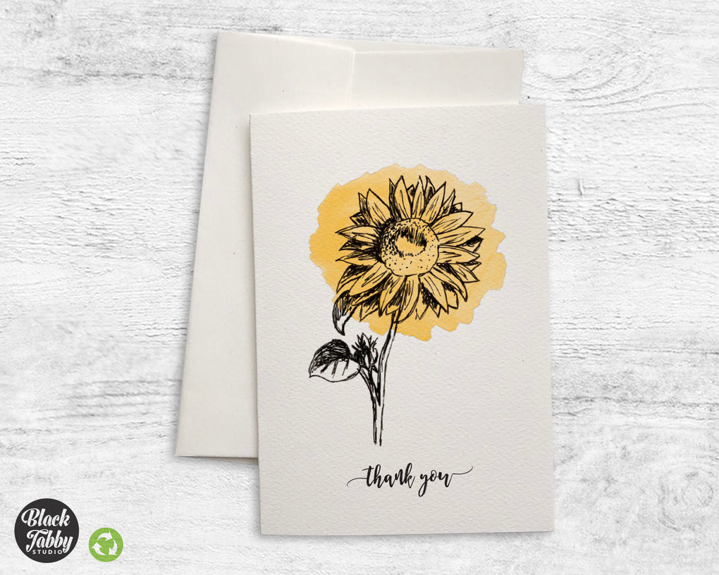 Botanical Sunflower - Thank You Cards