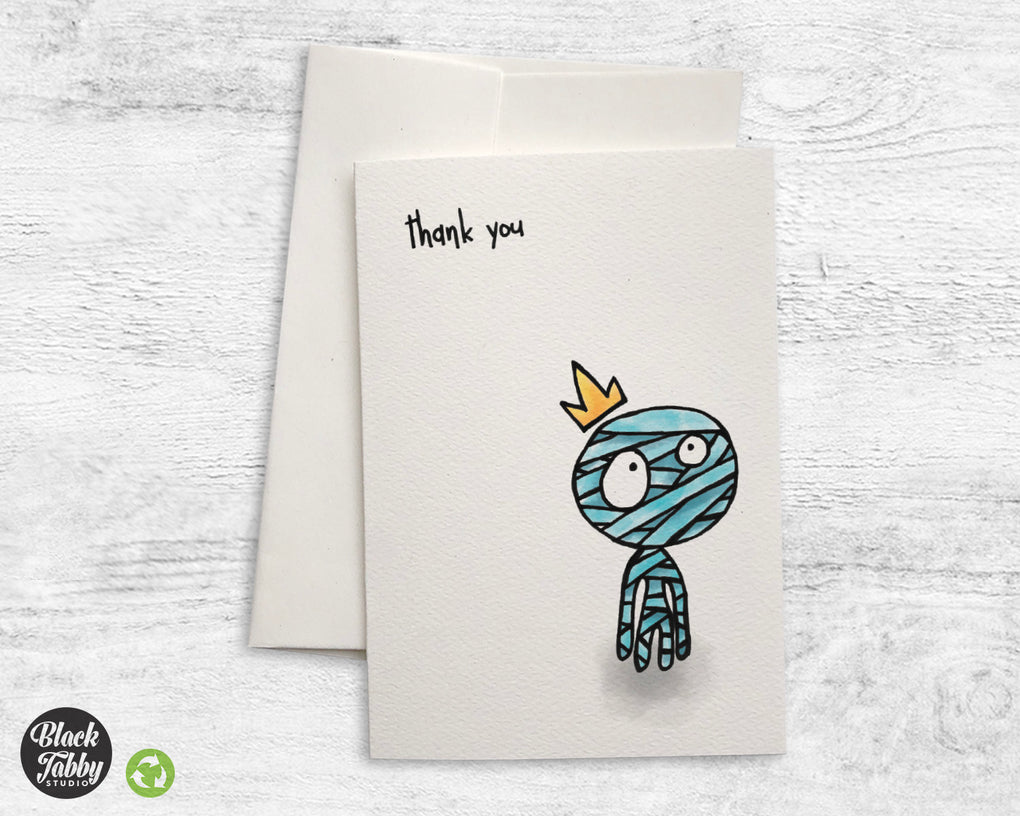 Sad Little Mummy - CLEARANCE - Thank You Cards