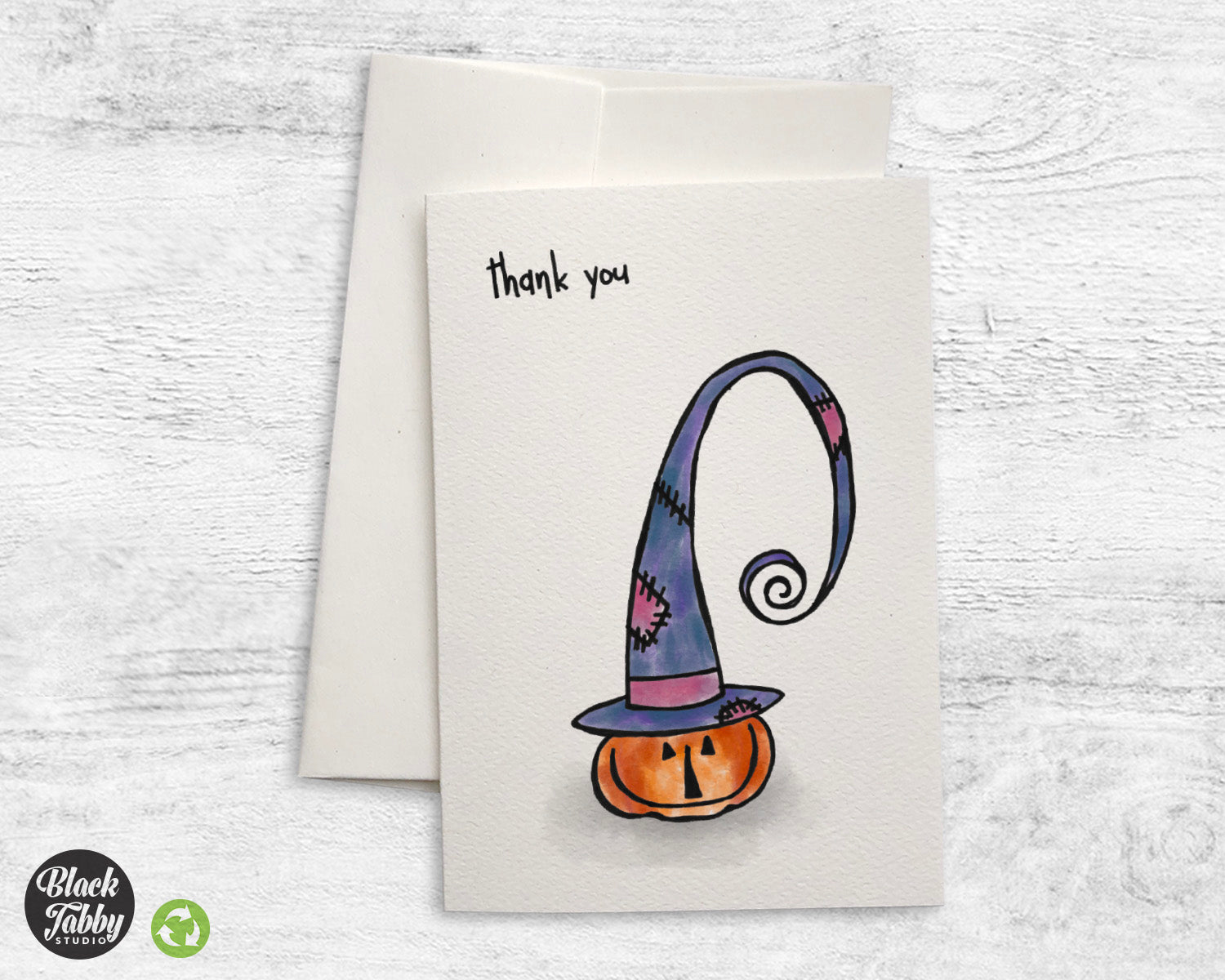 Witchy Pumpkin Thank You Cards Black Tabby Studio