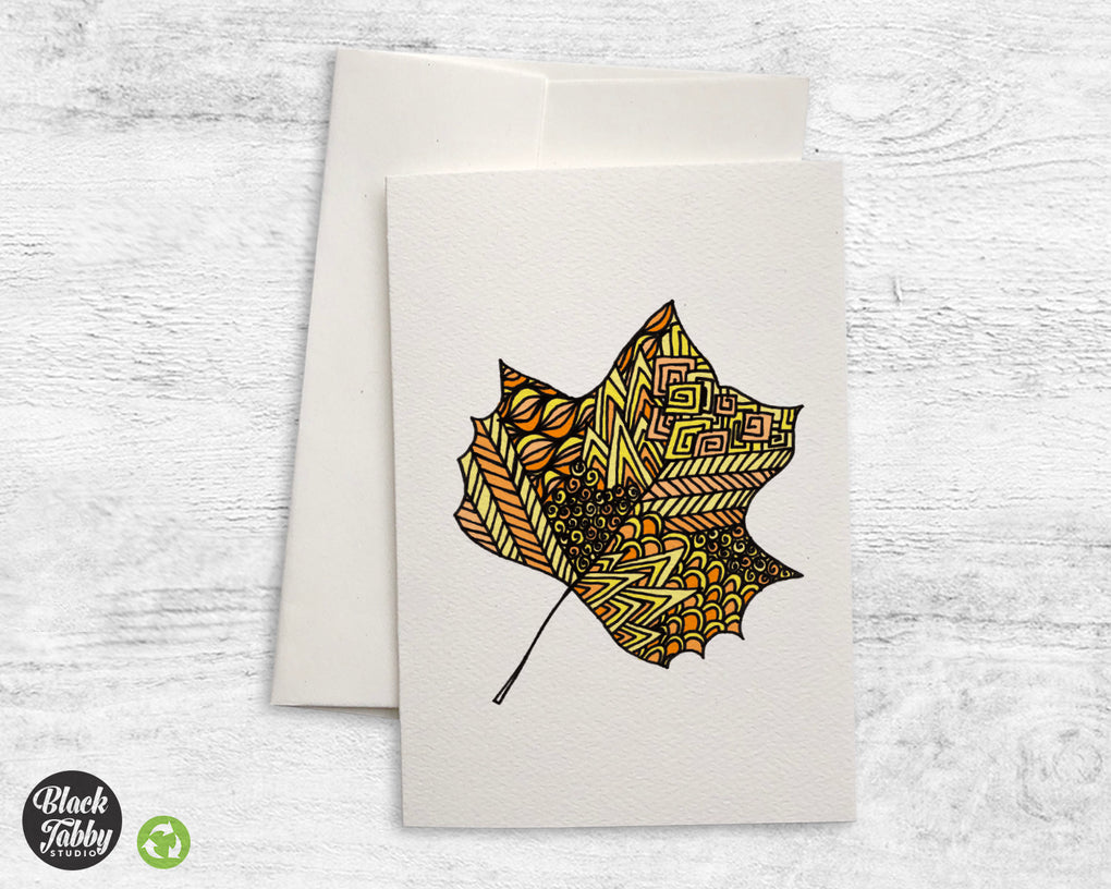 Zentangle Leaf Yellow - Greeting Cards